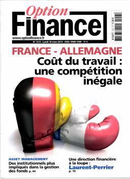 La Une du magazine Option Finance, sur le coût du travail en France et en Allemagne