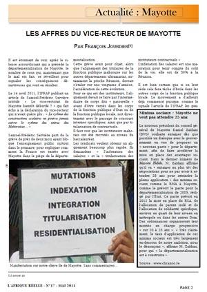 Aperçu : Les affres du vice-recteur de Mayotte