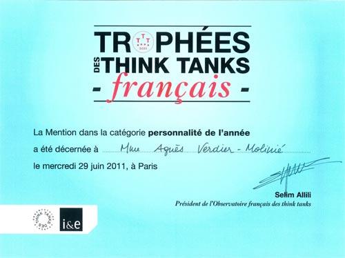 Diplôme du prix de la personnalité de l'année, attribué à Agnès Verdier-Molinié