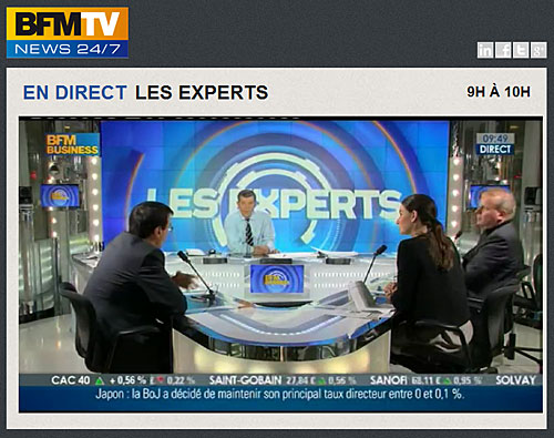Capture d'écran de l'émission Les Experts sur BFM avec Agnès Verdier-Molinié