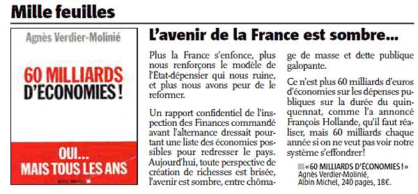 L'article du journal L'Alsace présentant le livre «60 milliards d'économies ! Oui… mais tous les ans »