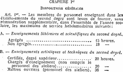 Extrait du statut des enseignants du second degré en 1950