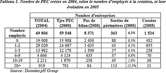 Nombre de PEC créées en 2004, selon le nombre d'employés à la création, et leur évolution en 2005