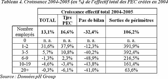 Croissance 2004-2005 (en %) de l'effectif total des PEC créées en 2004