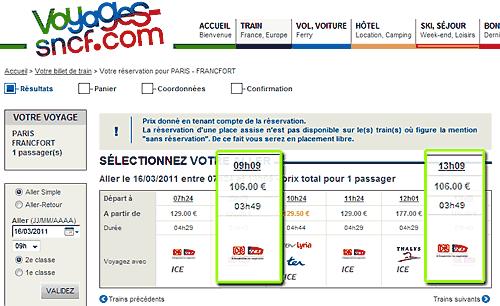 Tarifs de la SNCF - site : voyages-sncf.com