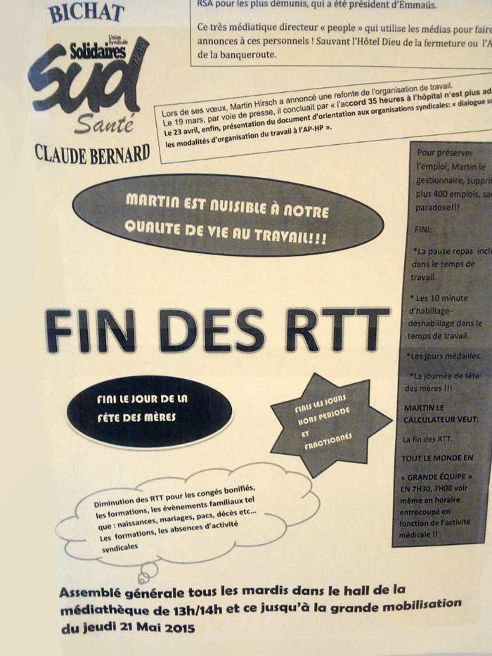 Affiche syndicale publiée suite aux déclarations de Martin Hirsch (cliquez pour agrandir)